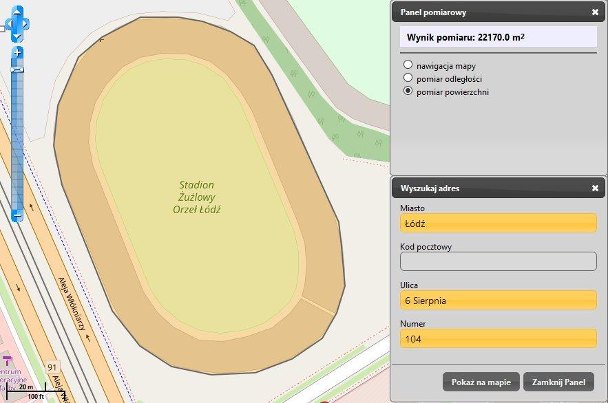 Stadion Orzeł w Łodzi na mapie