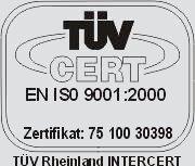 nr certyfikatu ISO 9001: 75 100 30398