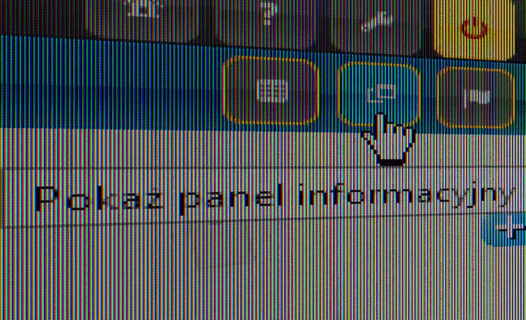 Zrzut ekranu z przyciskiem Panelu informacyjnego